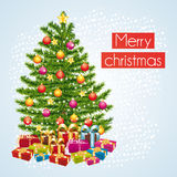 Merry christmas greeting card. Snowfall and gifts. Stock Photo