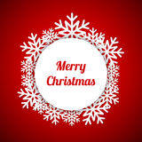 Merry Christmas greeting card with snowflakes. Christmas red background, vector illustration Royalty Free Stock Photography