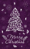Merry Christmas Greeting Card. With snowflakes and Christmas tree. Hand drawn winter holiday design for fabric, wrapping paper, greeting cards, invitation royalty free illustration