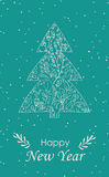 Merry Christmas Greeting Card. With snowflakes and Christmas tree. Hand drawn winter holiday design for fabric, wrapping paper, greeting cards, invitation vector illustration