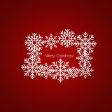 Merry Christmas Greeting Card with snowflakes, vector illustrati. On Royalty Free Stock Photos