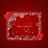 Merry Christmas Greeting Card with snowflakes, vector illustrati. On Royalty Free Stock Photo