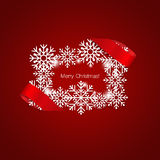 Merry Christmas Greeting Card with snowflakes, vector illustrati. On Royalty Free Stock Image