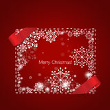 Merry Christmas Greeting Card with snowflakes, vector illustrati. On Royalty Free Stock Photography