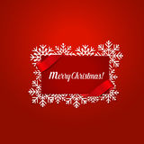 Merry Christmas Greeting Card with snowflakes, vector illustrati. On Stock Photography