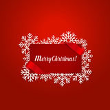 Merry Christmas Greeting Card with snowflakes, vector illustrati. On Royalty Free Stock Images