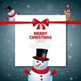 Merry Christmas greeting card with snowman  Stock Images