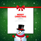 Merry Christmas greeting card with snowman  Royalty Free Stock Photos