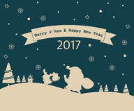 Merry Christmas greeting card snowman 2017. Merry Christmas greeting card snowman 2017 royalty free illustration