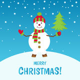 Merry Christmas greeting card with snowman. Merry Christmas. Cute snowman on winter landscape. Greeting card background. Holiday vector illustration stock illustration