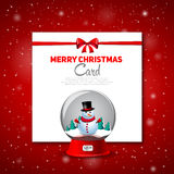 Merry Christmas greeting card with snowman  red backgronu Stock Photography