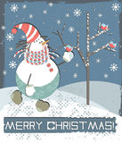 Merry Christmas Greeting Card. With snowman Stock Images