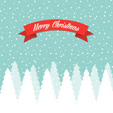 Merry Christmas greeting card. With snowy winter trees and snowflakes Royalty Free Stock Images