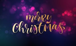 Merry Christmas greeting card of sparkling festive bokeh light background and golden calligraphy lettering text. Vector festive gl. Itter shine with light effect Stock Photos