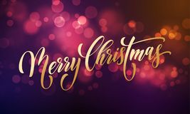 Merry Christmas greeting card vector golden sparkling light blur New Year background Stock Photo