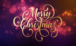 Merry Christmas greeting card of sparkling festive bokeh light background and golden calligraphy lettering wish, Vector festive gl. Itter shine with light effect Stock Photography