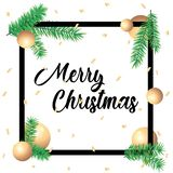 Merry Christmas greeting card in square frames and green spruce branches on white background. Template postcard greeting. Merry Christmas greeting card in square stock photos