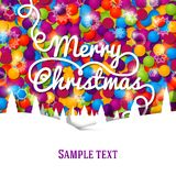 Merry Christmas greeting card with swirl lettering. Merry Christmas greeting card made with swirl lettering on the bright background made from colorful laces Royalty Free Stock Photos