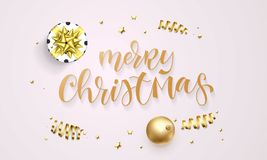 Merry Christmas greeting card template background of golden glitter confetti, gift box with gold ribbon bow. Vector festive glitte. Ring hand drawn calligraphy Stock Images