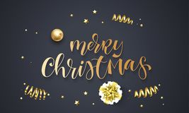 Merry Christmas greeting card template background of golden glitter confetti, gift box with gold ribbon bow. Vector winter holiday. Festive glittering star and Royalty Free Stock Image