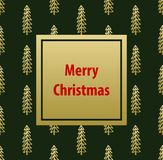 Merry christmas greeting card template background. On seamless pattern texture with hand drawn cute doodle pine trees, in golden and dark green colors Royalty Free Stock Photos