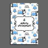 Merry christmas greeting card template with cute cartoon musk-ox stock illustration