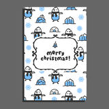 Merry christmas greeting card template with cute cartoon penguin Royalty Free Stock Photography