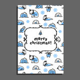Merry christmas greeting card template with cute cartoon polar bear. Seal, walrus and penguin. Vector arctic animals Royalty Free Stock Photo