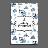 Merry christmas greeting card template with cute cartoon polar bear. Vector doodle icebergs. Arctic animal wears scarf Stock Image