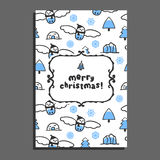 Merry christmas greeting card template with cute cartoon snowy owl Royalty Free Stock Photo