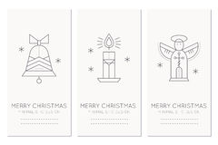 Merry Christmas greeting card template with holiday symbols Stock Photos