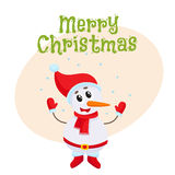 Merry Christmas greeting card template with little snowman Royalty Free Stock Image