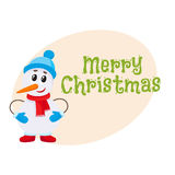 Merry Christmas greeting card template with little snowman Stock Photos