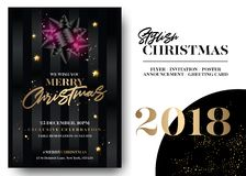 Merry Christmas Greeting Card Template. Vector Elegant Black Invitation Design. Xmas Celebration Event Poster. Stylish Dark Background with Gold Lettering Royalty Free Stock Photography