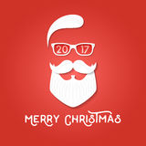 Merry Christmas greeting card template. Santa Claus on the red backgrounds. Hipster style. Vector illustration. For print on t shirt, tee, card, invitation vector illustration