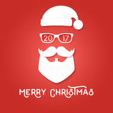 Merry Christmas greeting card template. Santa Claus on the red backgrounds. Hipster style. Vector illustration. For print on t shirt, tee, card, invitation royalty free illustration