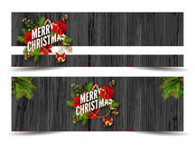 Merry Christmas greeting card template. Merry Christmas web banners emplate. Design for your holiday invitation with pine branches, christmas flowers, jingle Royalty Free Stock Photography