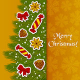 Merry Christmas greeting Card. With a Christmas tree Stock Photo