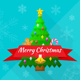 Merry christmas greeting card with tree and decora. Flat design merry christmas greeting card with tree and decorations Stock Photography