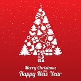 Merry Christmas greeting card. Tree of flat icons. Merry Christmas greeting card. Christmas tree of flat icons. Happy New Year lettering. Vector illustration Stock Photography