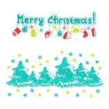 Merry Christmas greeting card. With Christmas trees stock illustration