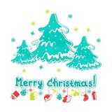 Merry Christmas greeting card. With Christmas trees royalty free illustration