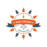 Merry Christmas Greeting Card Typography and Decorations Stock Image