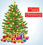 Merry christmas. Greeting card under the snow. Stock Image