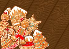 Merry Christmas greeting card with various gingerbreads.  Stock Images