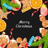 Merry Christmas greeting card with various gingerbreads Stock Photos