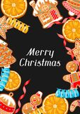 Merry Christmas greeting card with various gingerbreads.  Royalty Free Stock Images