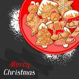 Merry Christmas greeting card with various gingerbreads.  Stock Image