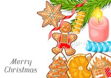 Merry Christmas greeting card with various gingerbreads.  Stock Photos