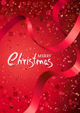 Merry Christmas greeting card. Vector abstract red glow background. Royalty Free Stock Photo